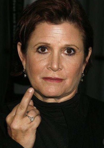 Carrie Fisher, flipping the bird