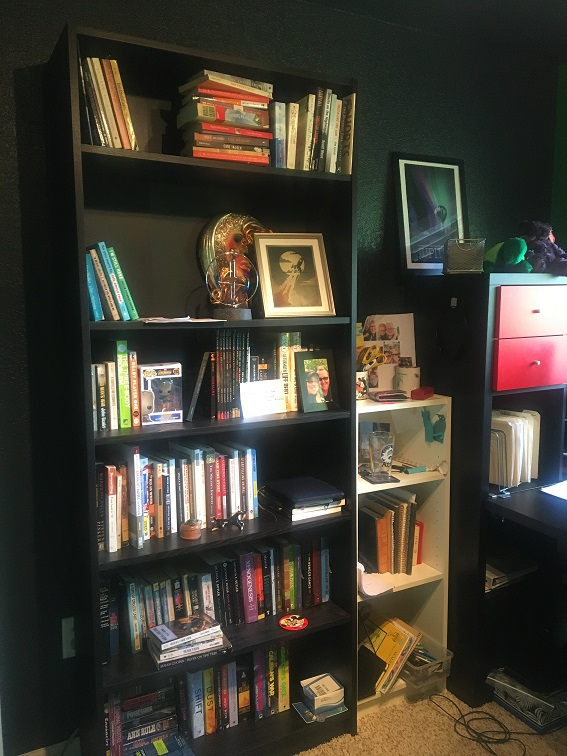 three pictures of shelves with books